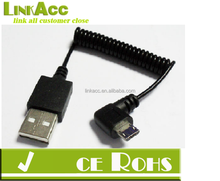 High Quality right angle Coiled Micro USB Cable 0.8 Meter