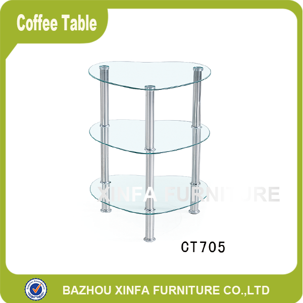 Heart-shaped 3 tiers tempered glass coffee table for corner furniture