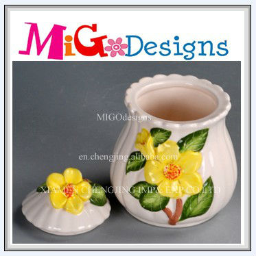 Hand Painted OEM Craft Customized Flower Ceramic Candy Jar