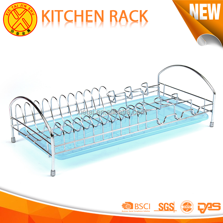Low carbon blue single stainless steel powder coating dish rack portable shelf for kitchen