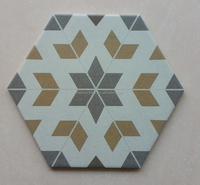 Decorative porcelain hexagonal bathroom floor tiles