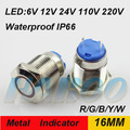16mm anti-vandal 24 volt led indicator lights waterproof IP66 IK08 indicator light