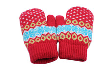 Yiboli Red With Dot Winter Knitted Jaquard Gloves