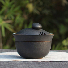 Chinese traditional small travelling black porcelain tea set from Jingdezhen
