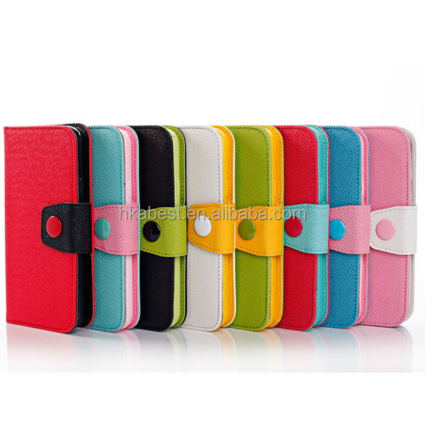 cell phone leather case for samsung galaxy s5, colorful leather wallet cover,stand cases with card slot