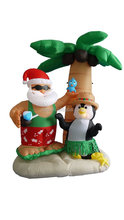 CHRISTMAS INFLATABLE 7' TROPICAL SANTA ON VACATION W/ PENGUIN FRIEND & PALM TREE
