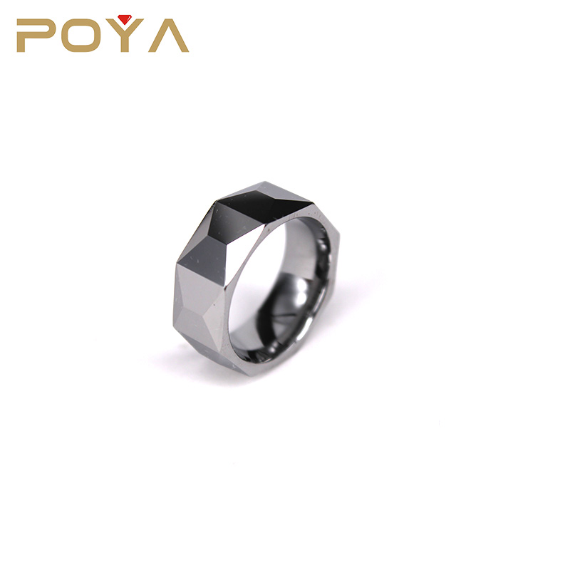 POYA Jewelry Made Your Own Designs 8mm Diamond Faceted Cut Blank Tungsten Carbide Ring Comfort Fit Engagement Wedding Bands