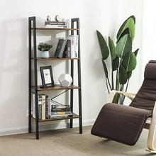 SONGMICS Industrial Vintage 4-Tier Metal Frame modern bookshelf book <strong>shelf</strong> leaning for Living Room