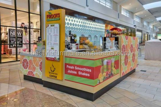 Attractive and popoular shopping mall juice bar milk shake smoothies kiosk design