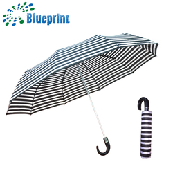 Chinese 27 inch large pu leather hook handle 3 fold golf umbrella