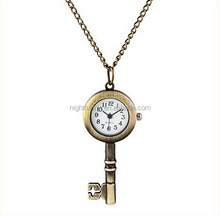 VIntage KeyChain style Simple Round Antique Bronze Round Pocket Watch Necklace Pendant Key Chain Watch Necklace