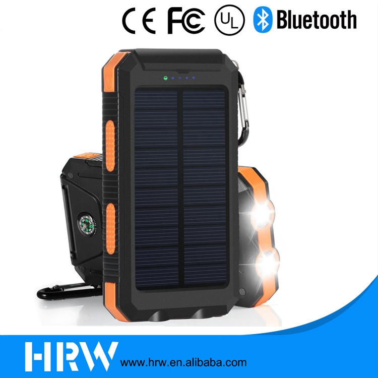 20000mAh Solar Power Bank External Backup Battery Pack Dual USB Solar Panel Charger with 2LED Light Carabiner Compass