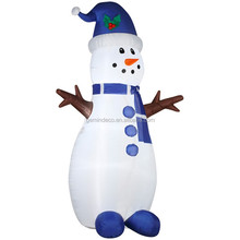 Balcony ornament LED lighting blue christmas hat shoes branch hands snowman decorations