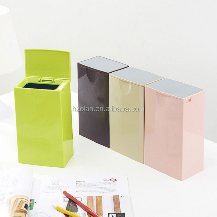 Unique Inner Cylinder Waste Bin with Lid Plastic Creative Household Desktop Trash Can Garbage Collection for Office