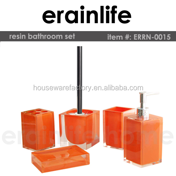 Cheap Blink Bright Orange Square Polyresin Bathroom Accessories Set Bathroom Set Buy Bathroom