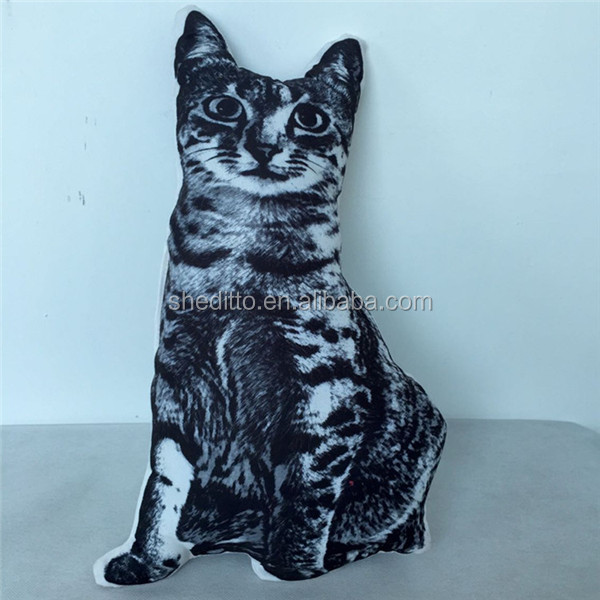 Customize animal shaped cushion sublimation printed pet toy cat shaped pillow