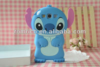new 3D cute cartoon Stitch silicone soft back cases stand for Samsung Galaxy S3 SIII i9300 skin cover lovely mobile phone case