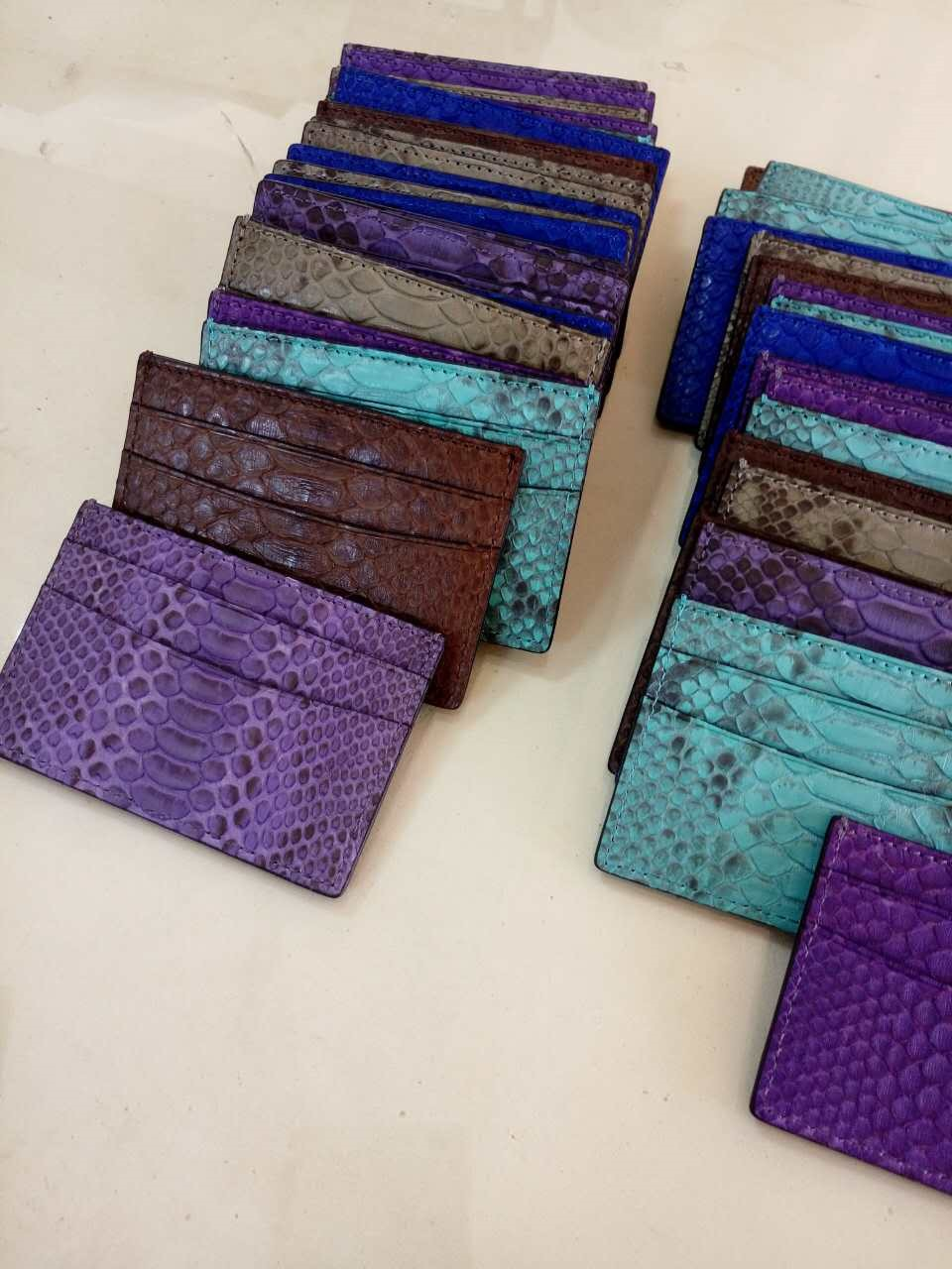 100% Python Snake Business Card Holder Genuine Leather Credit Card Holder RFID Blocking
