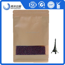 oem eight side sealing natural Kraft paper stand up pouch with top zipper for packaging customed specification