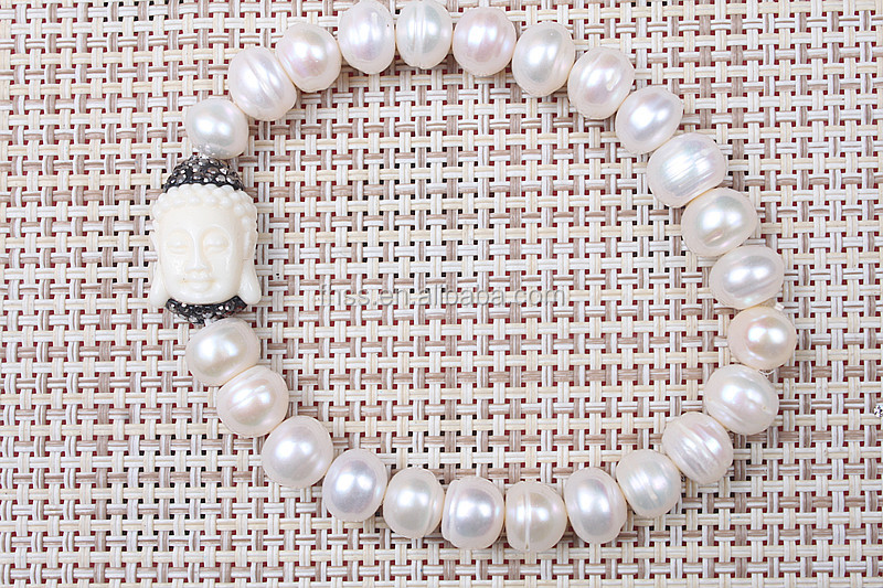 Pearl bead pave crystal,pearl charms,elasticity,8mm beads,freshwater with rhinestone,PTX6095