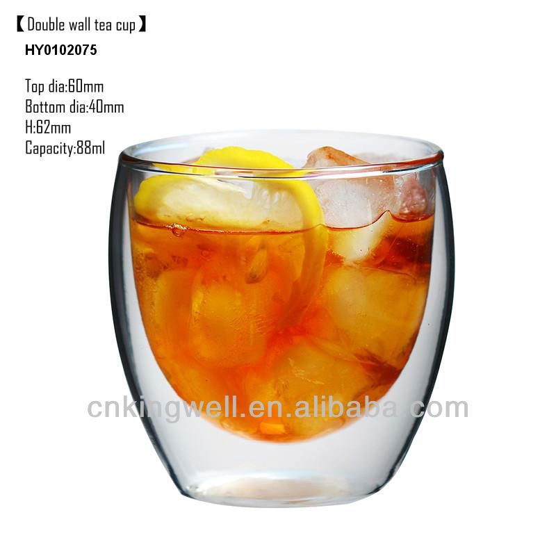 Handmade Clear Borosilicate dringking double wall glass tea cup