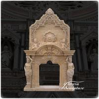 Classical home decoration 3 tier marble fireplace mantel