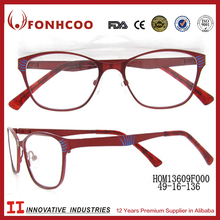 FONHCOO Italian Designer Brand Eyeglasses Wholesale Red Metal Optical Frame