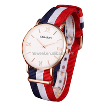 2017 Factory Wholesale CAGARNY 6812 Concise Style Ultra Thin Quartz Wrist Watch with Striped Nylon Band for Couples