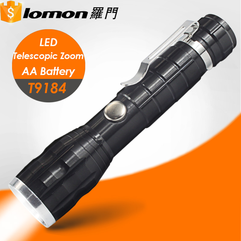 T9184 Hot Sale Super Bright Wholesale Cheap Mini AA Battery Telescopic Zoom Led Torch Flashlight with Clip