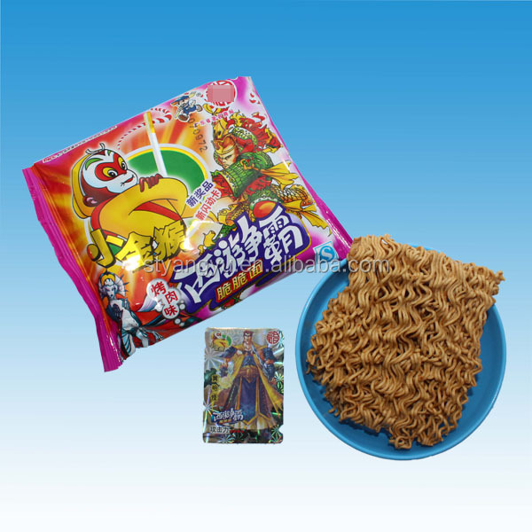 Kid barbecue flavor fried puffed healthy crisp noodle wholesale korean snacks