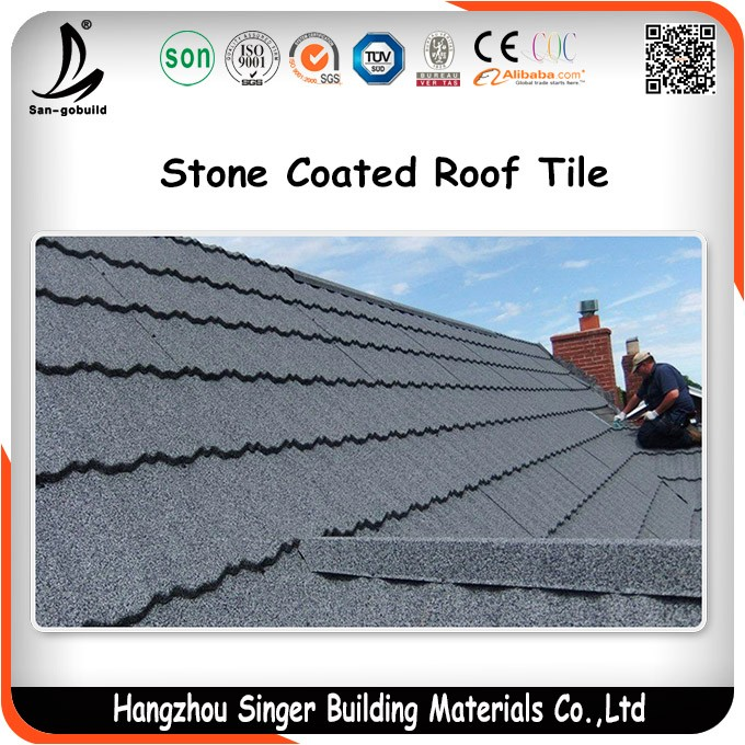 Building material Colorful Aluminum Zinc Stone Coated Metal Roof Tile Roofing Tile Sheets Color Glazed Steel Sheet Roofing