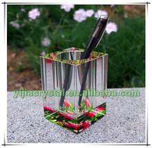 Cube Shape Crystal Pen Holder for Teachers' Gifts;Office Favor Colored K9 Crystal Glass Pens Container for Company Souvenirs