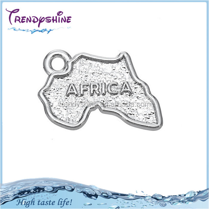 Fashion Wholesale silver African Map Shaped Engrave Africa Charms