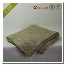 Check Pattern Foil Print Acrylic Knitted Festival Blanket