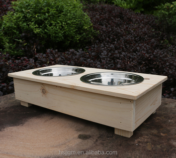 Outdoor Wooden Large Dog Feeder