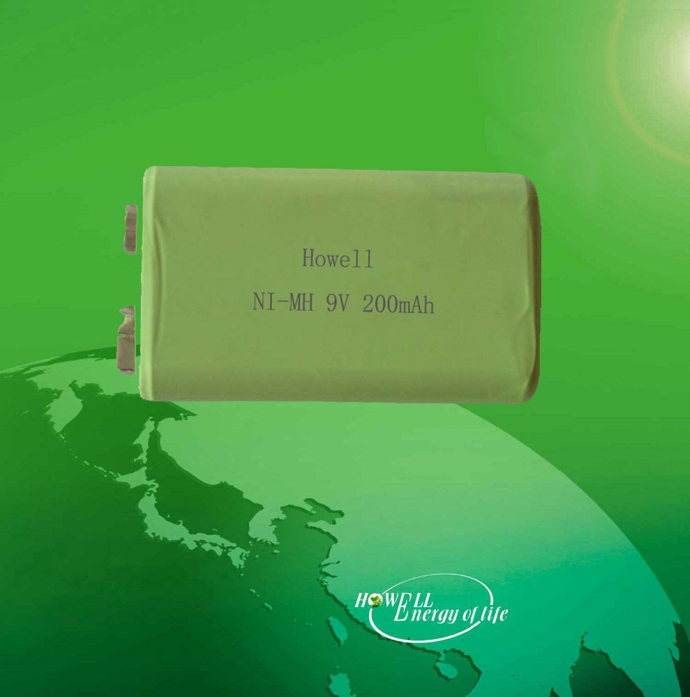 high quality nimh 200mah 1.2v rechargeable battery 9V