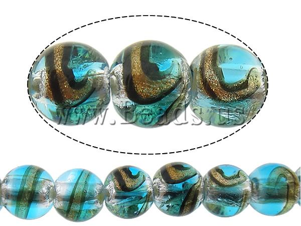Free shipping!!!Gold Sand & Silver Foil Lampwork Beads,Hot Style, Round, gold sand and silver foil, sea blue, 12mm