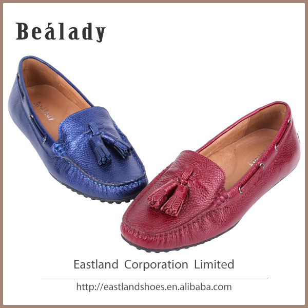 (E1638-37) 2016 Manufacturer fashion metallic lychee ladies leather moccasin casual driving loafer flat shoes eyelet tassel
