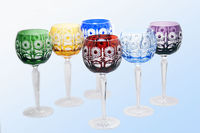 Luxury colored crystal wine glasses consist of 6 pieces, 360 ml, 205 mm, IceFord Crystal Bohemia, Model:068