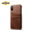 Cow Leather flip case back case cover for iPhone X with card slots