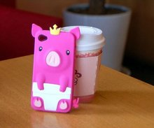 Lovely cute royal pig cover silicon case for apple iphone
