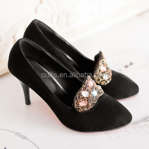 2015 Black and red diamond-studded crystal high heel pump shoes fancy high heel dress shoes CP6743