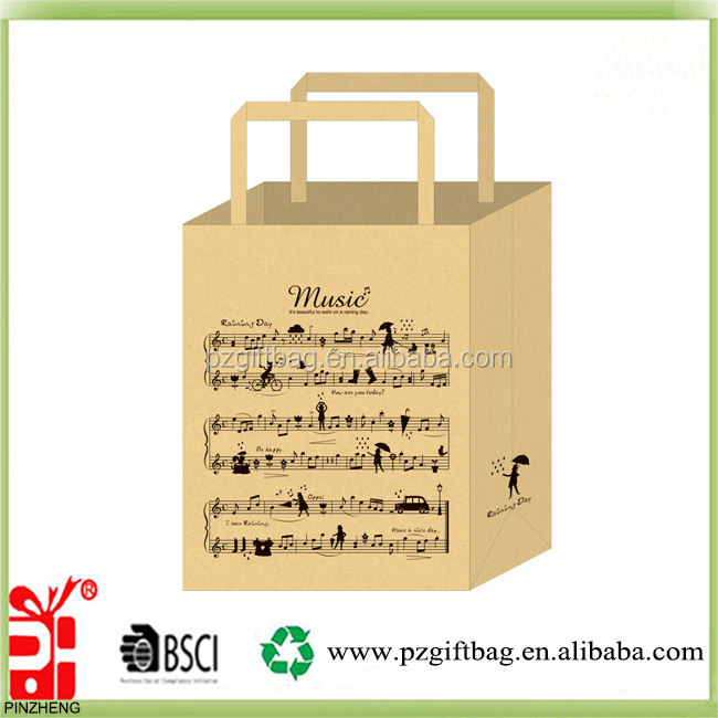 Alibaba China new idea stave design kraft shopping paper bag wholesale