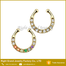 Factory Price Fake Nose Ring Zircon Gold Plated Piercing Septum Clicker