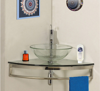High quality glass bathroom pedestal sink, transparent Glass with stainless steel holder