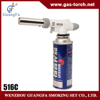 factory butane gas bbq lighter gas cartridge adapter 516C without flaring after two minites'pre-heating