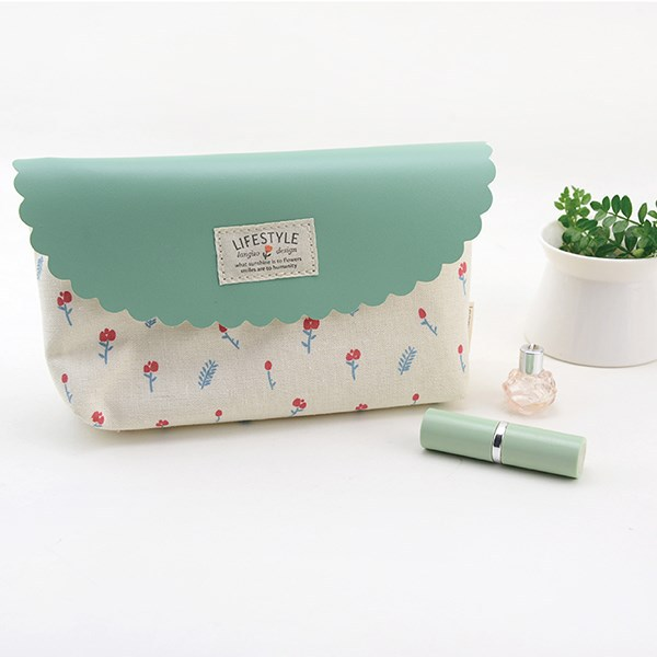 Fresh style linen cosmetic bag cute design make up bag