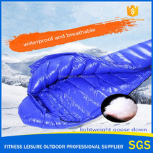 Blue color waterproofed Luxury ultralight down sleeping bag