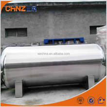 Large stainless steel 304 or 316 horizontal storage tank for oil and water