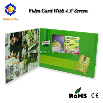 4.3 inch 5 INCH LCD TFT Video Brochure Cards for Presentations, Invitation, Direct Marketing Advertising